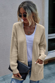 Solid color knit long sweater