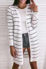 Stripes Long Knit Cardigan Sweater