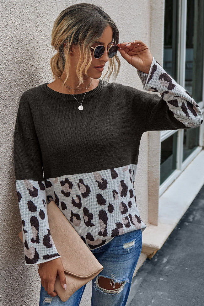 Leopard print crew-neck sweater