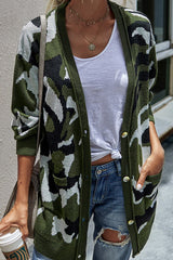 Long knit cardigan in camouflage