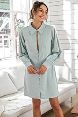 Solid Color Slim Fit Shirt Dress