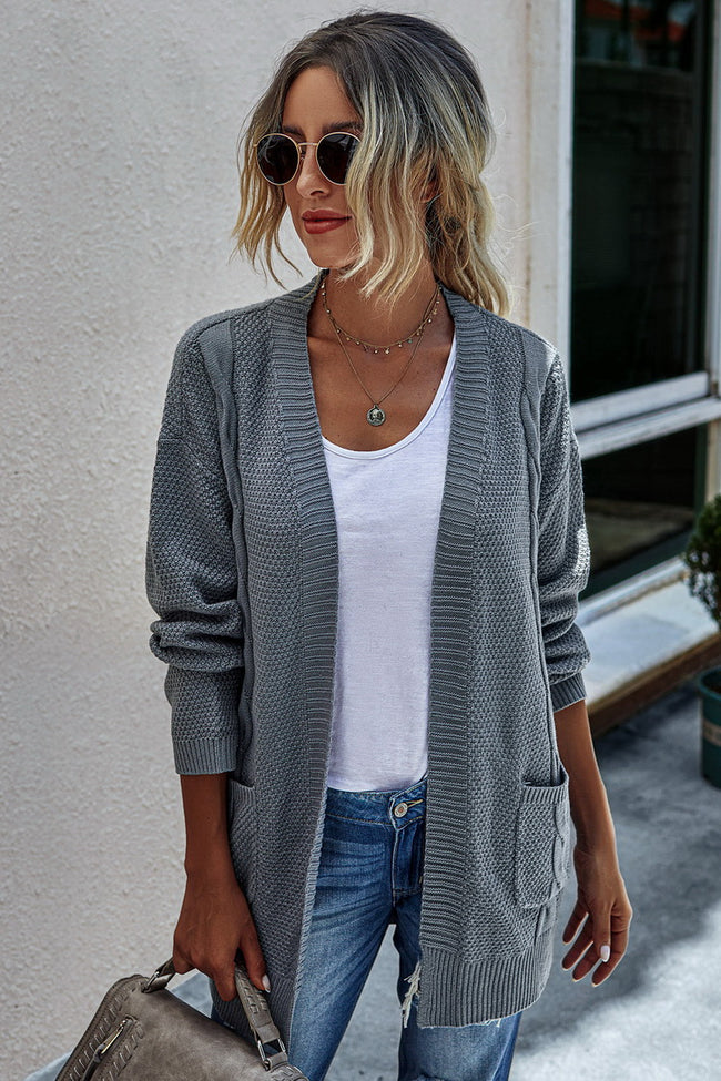 Solid-color knit cardigan sweater
