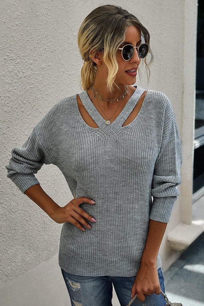 Solid color V-neck long sleeve sweater