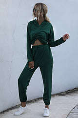 Solid Color Long-sleeve Cropped Sweater Suit