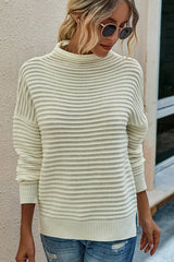 Solid color turtleneck long-sleeve sweater