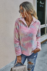 Stand Collar Tie Dyed Plush Sweater