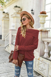 One-neck Solid Color Knitted Sweater