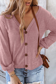 Button Long Sleeve V-neck Sweater