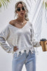 Long-sleeved Loose Knit Distressed Sweater
