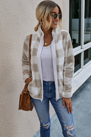 Plaid Zipper Plush Coat