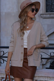 Solid Color V-neck Loose Cardigan