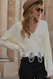 V-neck Fringed Worn Short Sweater