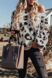 Leopard Print One-shoulder Loose Sweater