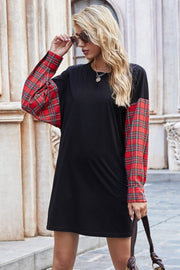 Round Neck Stitching Plaid Sweater Dress