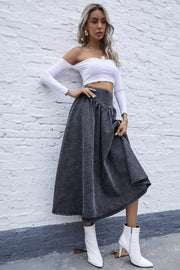 Tucked Waist Swinging Denim Skirt