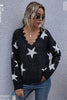 LooseV-neck Star Knitted Sweater
