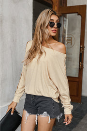 Off Shoulder Button Solid T-shirt