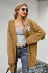 Solid Color Pocket Thickened Cardigan