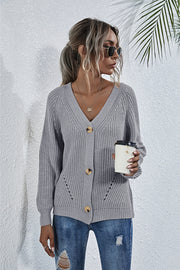 Solid Color Button Sweater Cardigan