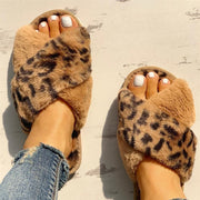 Faux Fur Leopard Furry Slippers