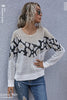 Printed Stitching Knitted Loose Top