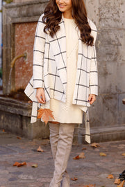 Tweed Belt Plaid Coat