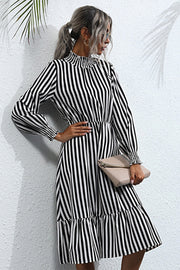 Long Sleeve Pullover Loose Striped Dress