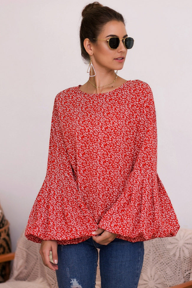Bubble Sleeve Floral Print Top