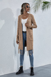 Tassel Solid Color Pocket Cardigan