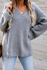 Solid Color Deep V Knitted Loose Sweater
