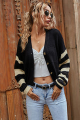 V-neck Pullover Slim-fit Striped Knitted Sweater Coat