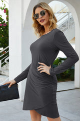 Bag Hip Slim Fit Irregular Long Sleeve Dress