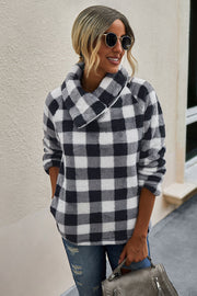 Plaid Diagonal Zipper Sweater