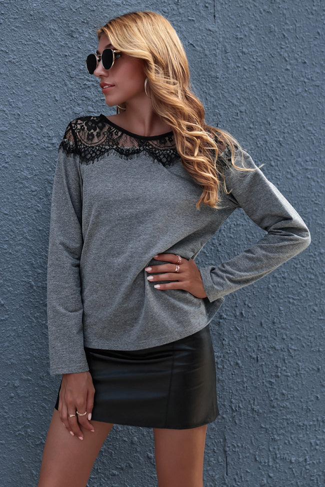 Round Neck Lace Hollow Out Knitted Top