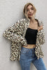 Leopard Print Lapel Long Sleeve Loose Coat