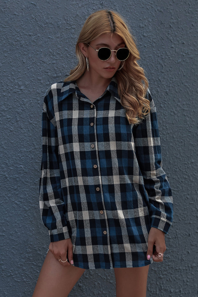 Long Sleeve Plaid Cardigan Shirt