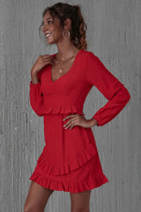 High Waist Ruffled Long Sleeve Dress