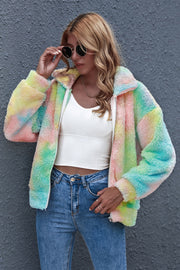 Tie-dyed Colorful Woolen Zipper Jacket