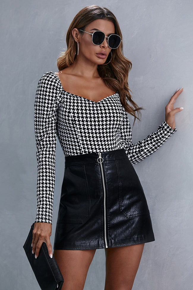 Square Collar Check Long Sleeve Top