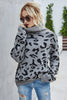 Loose Leopard Print Turn-Down Collar Sweater