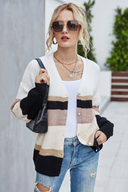 Contrast V-neck Striped Knitted Sweater