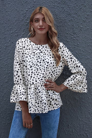 Black-dot Print Round Neck Loose Ruffled Top