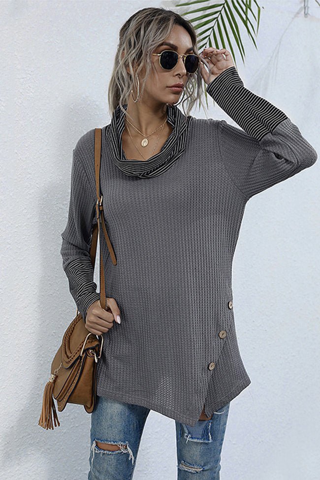 Mid-length Pile Collar Long-sleeved Solid-color Top