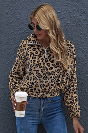 Leopard Print Lapel Zipper Fleece Sweater