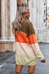 Color Matching Sweater Coat