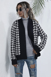 Long Sleeve Houndstooth V-neck Cardigan