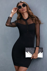Lace Stitching Mesh Silm Dress
