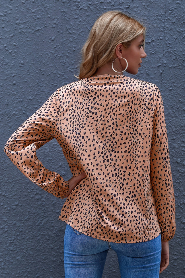 Leopard Loose V-Neck Long-Sleeve Outwear Coat