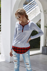 V-neck Plaid Patchwork T-shirt