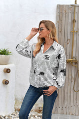 Letter Printed Long-Sleeved Button Shirt